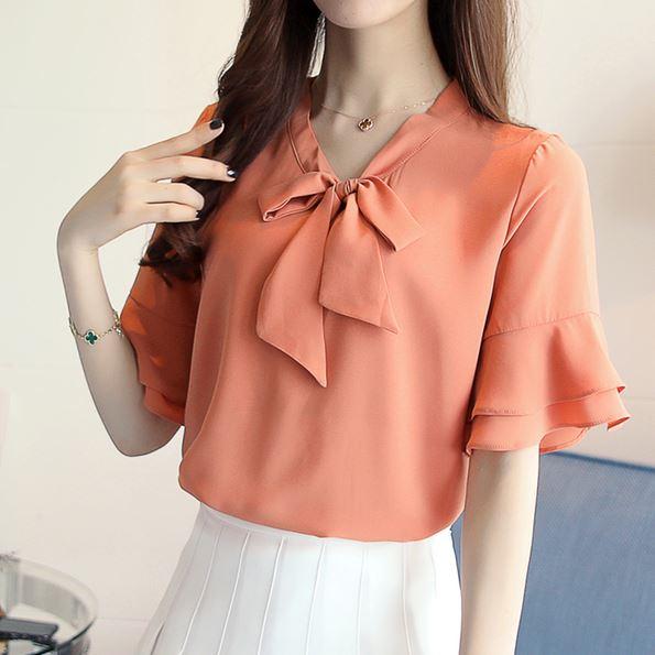 Preorder เสื้อทำงาน สีส้ม คอผูกโบว์ แขนแต่งระบายสองชั้นสวยหรู