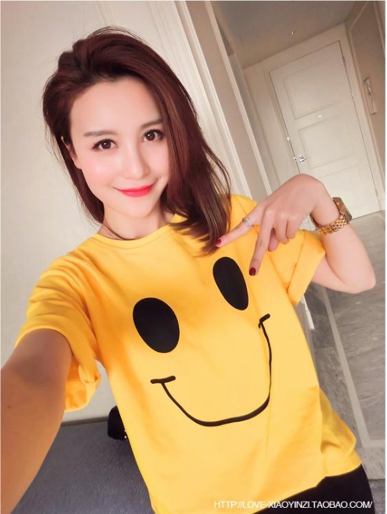 เสื้อยืดแฟชั่น คอกลม แขนสั้น ลายหน้ายิ้ม สีเหลือง