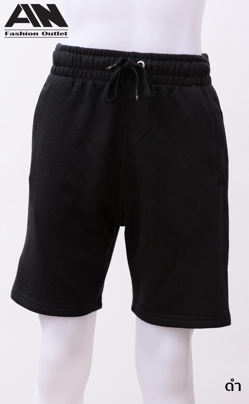 กางเกงกีฬาขาสั้นเอวยืด สีดำ