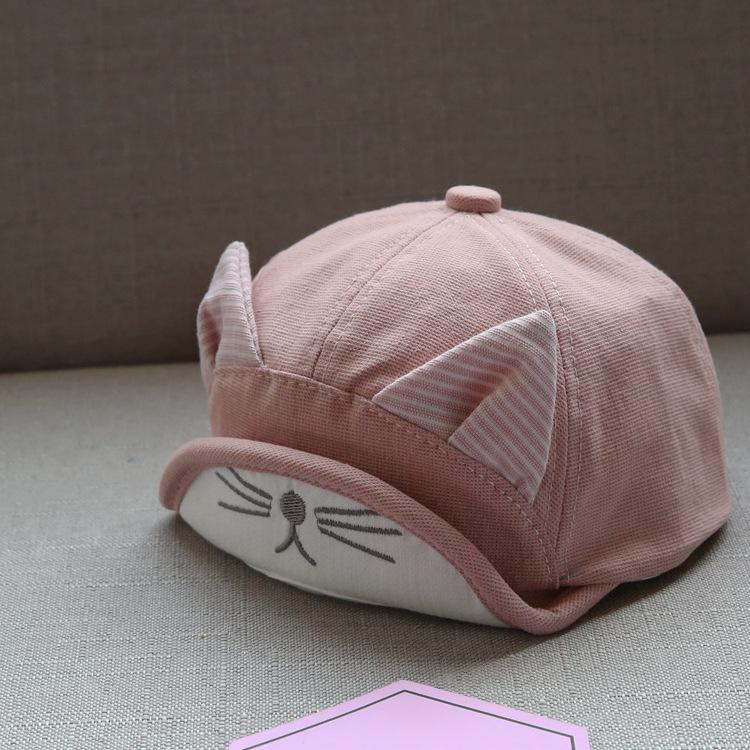 หมวกเด็กสีชมพูแต่งหูแมว แพ็ค 3 ชิ้น