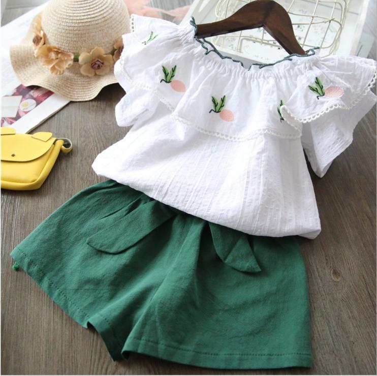 เสื้อ+กางเกง สีเขียว แพ็ค 5 ชุด ไซส์ 90-100-110-120-130