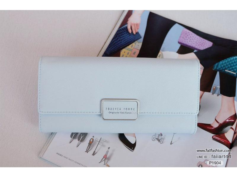 กระเป๋าสตางค์ ใบยาว แต่งอะไหล่เหลี่ยมสกรีนForever งานสวยมาก