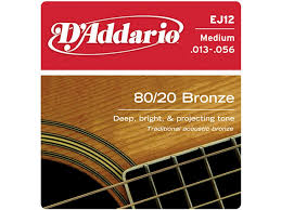 สายกีตาร์โปร่ง D'Addario EJ12 80/12 Bronze Acoustic Guitar Strings, Medium, 13-56