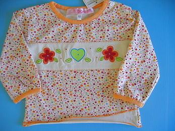 BON092 Bonita เสื้อยืดเด็กผู้หญิงแขนยาว ต่อชาย พิมพ์ลายดอกไม้ ช่วงอกปักหัวใจและดอกไม้ Size 9M/12M/18M