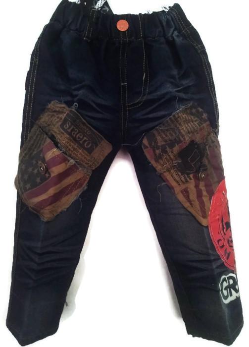 J1065 กางเกงยีนส์เด็กชาย ขายปลีกในราคาส่ง ดีไซเท่ห์ทั้งด้านหน้า-หลัง เอวยางยืด Size 4-6 ขวบ