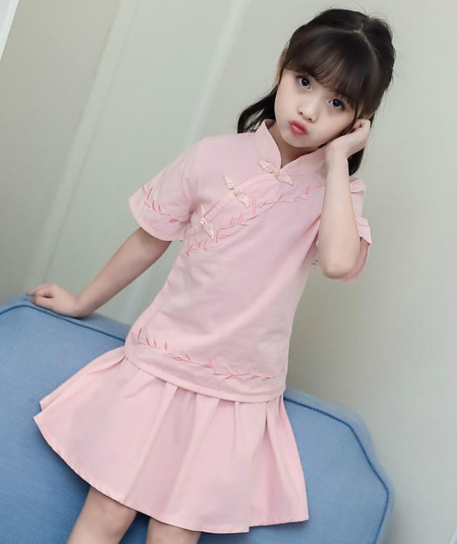 เสื้อ+กระโปรง สีขมพู แพ็ค 5 ชุด ไซส์ 110-120-130-140-150 (เลือกไซส์ได้)