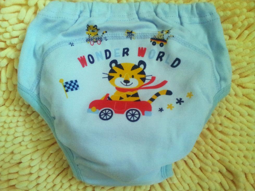 TPT6 กางเกงซับฉี่ กางเกงผ้าอ้อม ลายเสือ Wonder World ขลิบริมขอบขาสีฟ้า Size 90