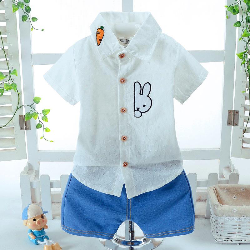 ชุดเซตเสื้อเชิ้ตแขนสั้นสีขาวลายกระต่าย+กางเกงขาสั้นสีฟ้า แพ็ค 3 ชุด [size 6m-1y-2y]