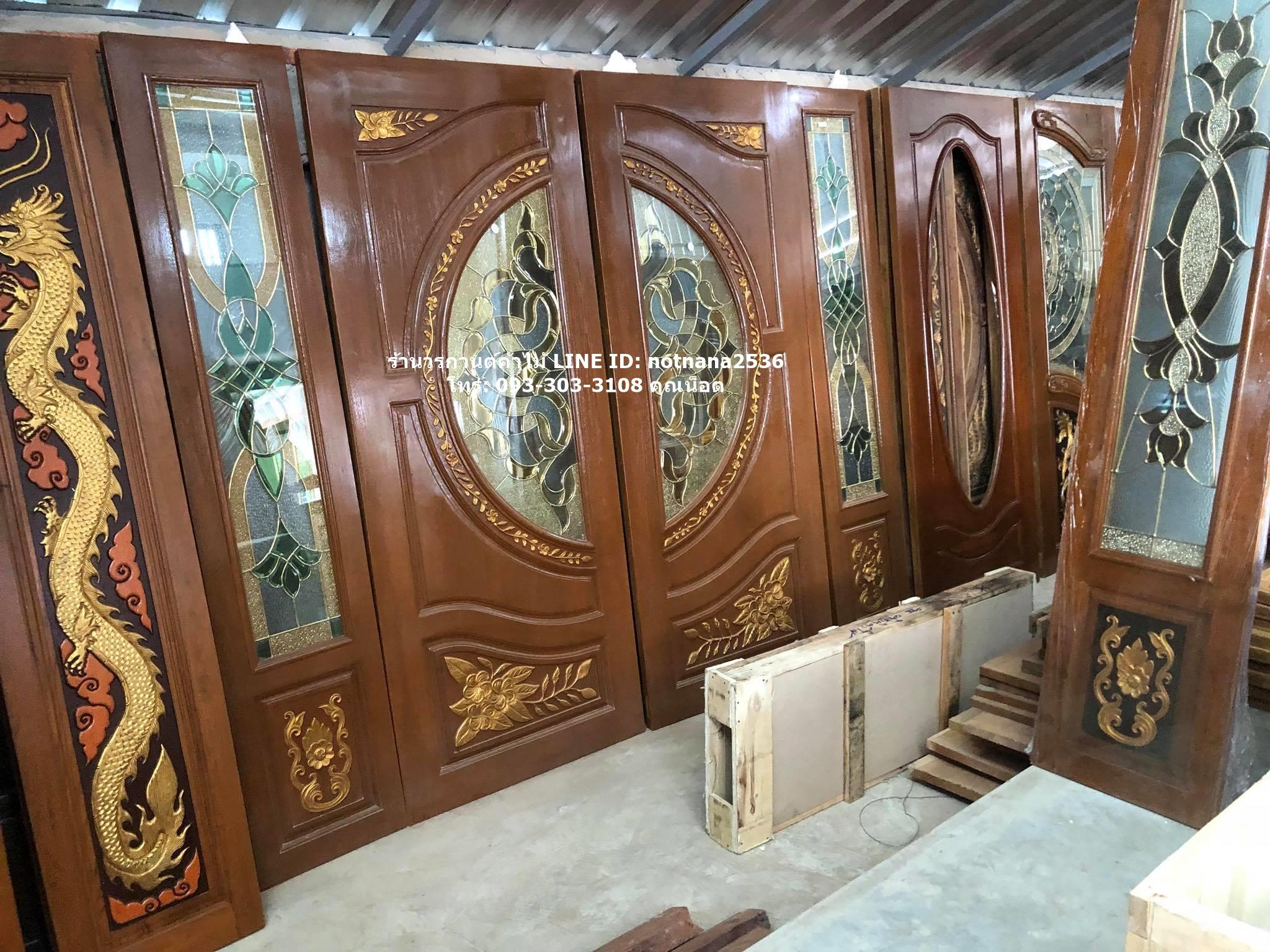 ประตูไม้สักกระจกนิรภัยสเตนกลาส รหัสAAA105