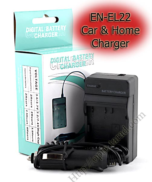 Home + CarBattery Charger For Nikon EN-EL22