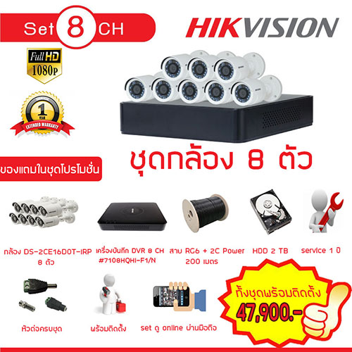 Hikvision Set 8 HDTVI 2 ล้านพิกเซล