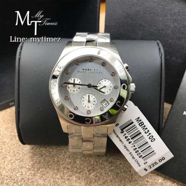 นาฬิกาข้อมือ Marc by Marc Jacobs Blade White Dial Stainless Steel Ladies Watch MBM3100