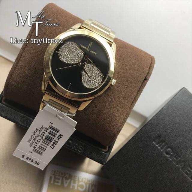 MICHAEL KORS Hartman Gold Black Crystals Sunglasses MK3647