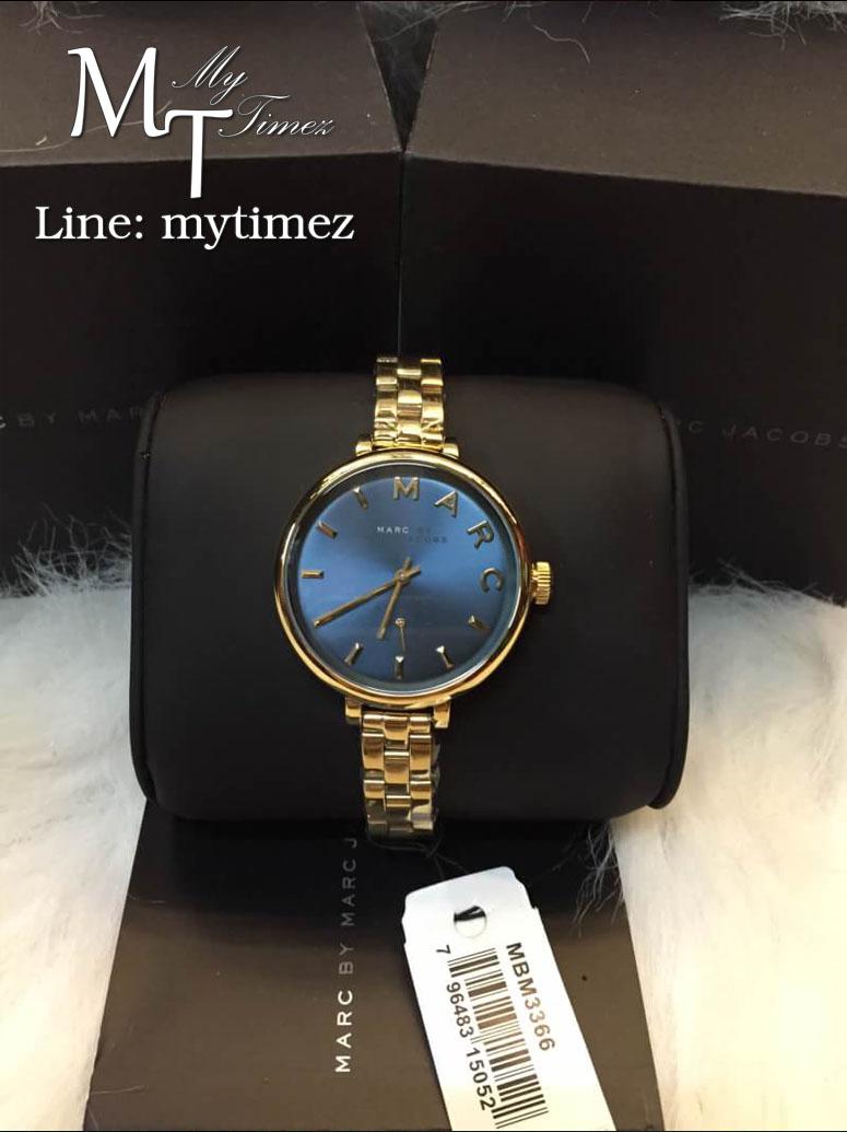 นาฬิกาข้อมือ MARC BY MARC JACOBS Slim Baker Blue Dial Gold Stainless MBM3366