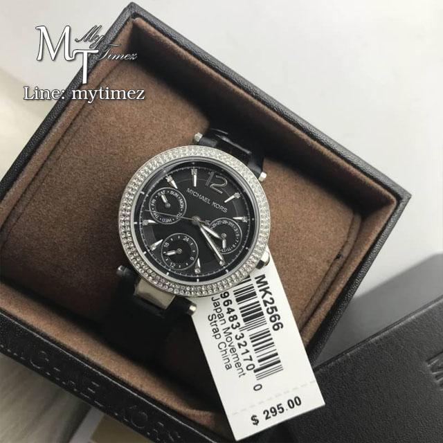 นาฬิกาข้อมือ MICHAEL KORS รุ่น Women's Mini Parker Black Case Glossy Leather Strap Watch MK2566