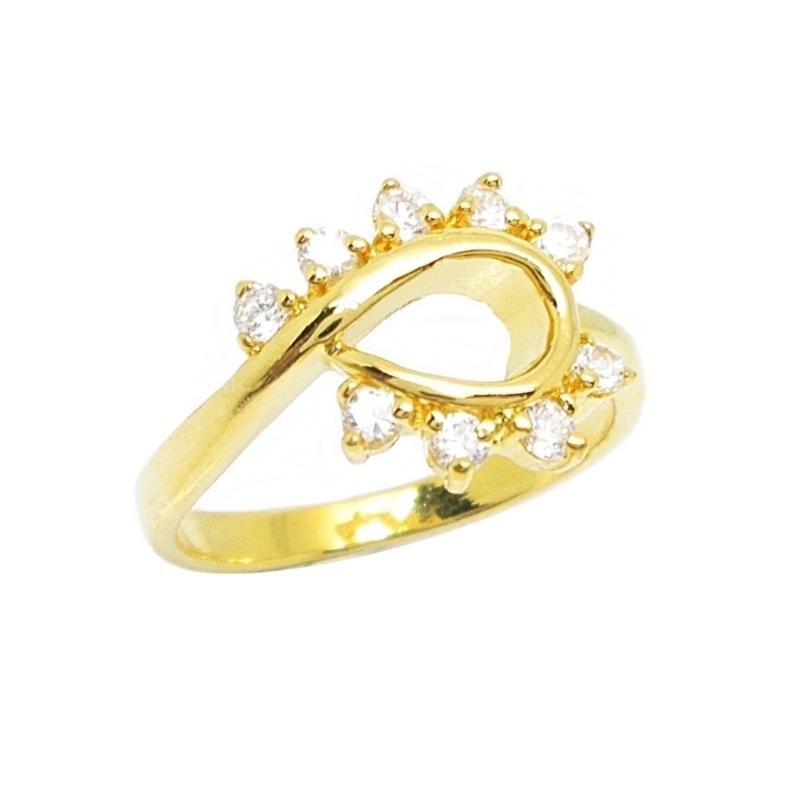 แหวนประดับเพชรโค้งชุบทอง