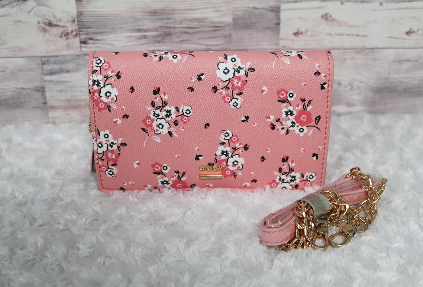 กระเป๋าพิมมี่สะพายข้างขนาด 1.5*7.8*4.5 นิ้ว ลายดอกไม้ น่ารัก อะไหล่สีทอง ซิปปั๊มแบรนด์พิมมี่ สายสะพายโซ่มีรองบ่า