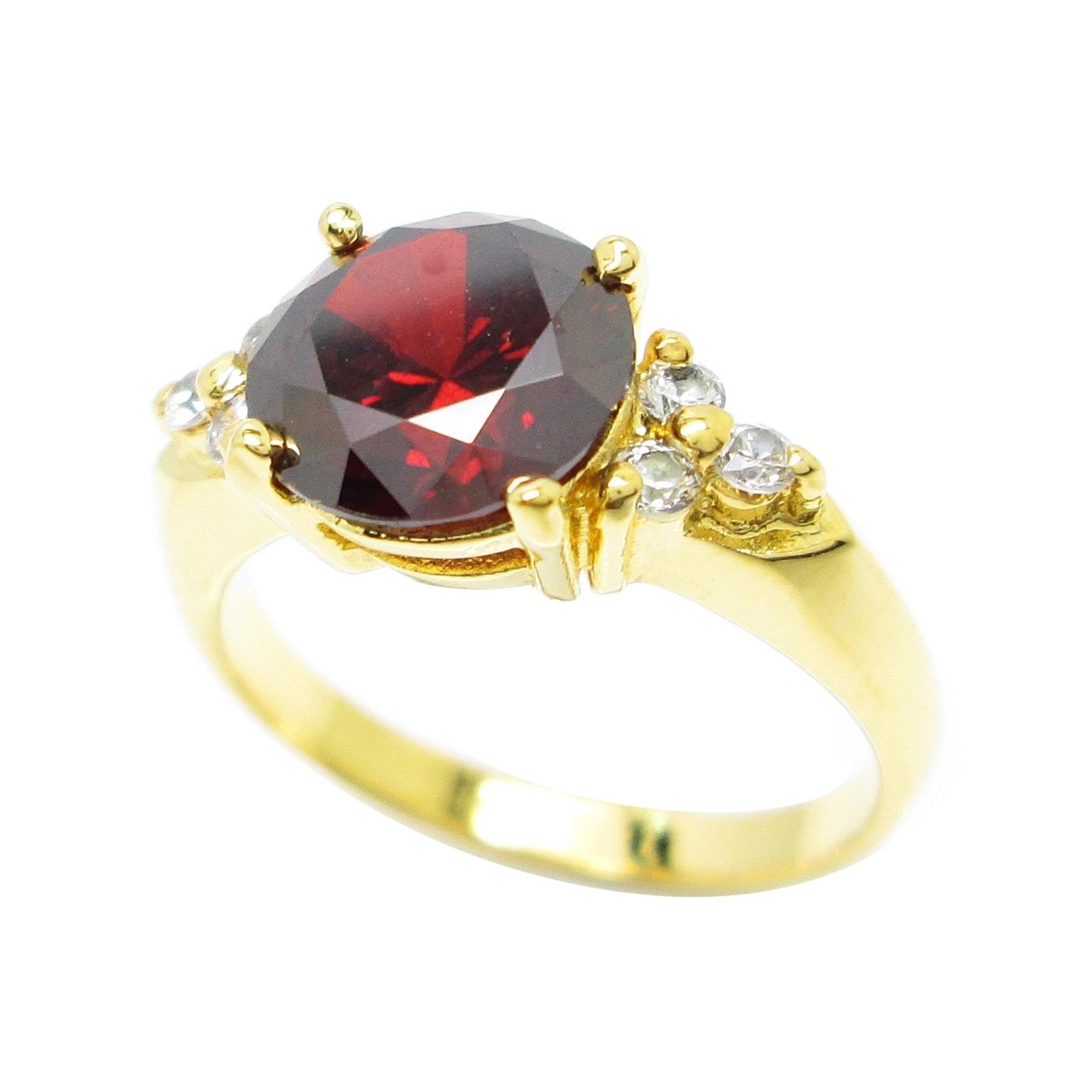 แหวนพลอยโกเมนกลมประดับเพชรชุบทอง