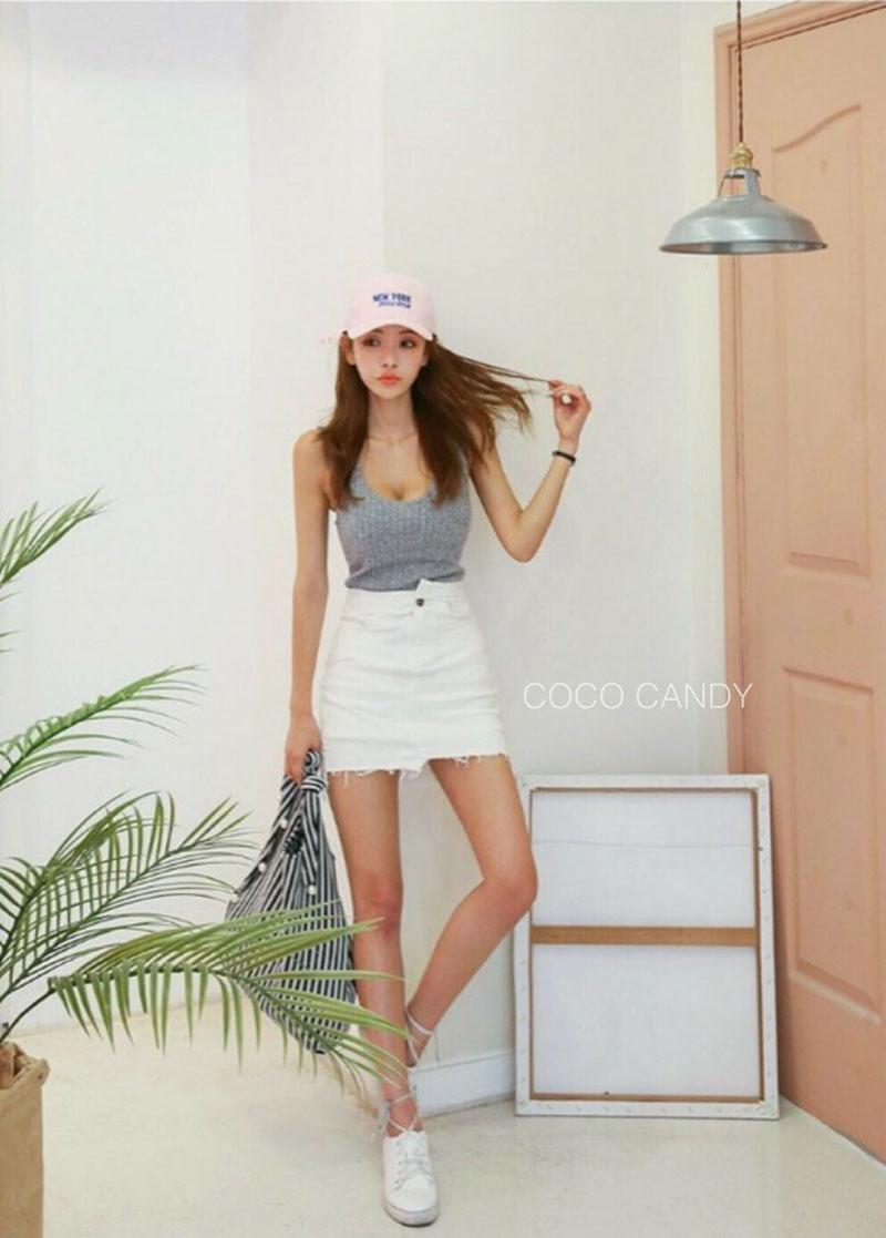 กระโปรงแฟชั่น Korea Insets Shorts Skirt สีขาว