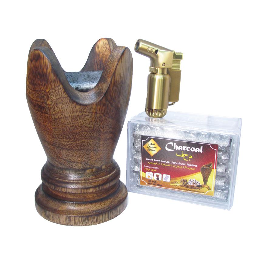 เตาเผาไม้หอม เตาเครื่องหอม ไม้กฤษณา ไม้จันทน์ กำยาน มดยอบ ชิ้นไม้ ยางไม้เรซิ่น ทำจากไม้เนื้อแข็งแท้100% + ถ่านพิเศษ ชาโคล สำหรับจุดไฟเผา 1 กล่อง + ไฟแช็คไอพ่น ไฟฟู่ คุณภาพสูง 1 ชิ้น