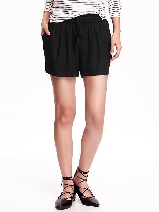 ( ไซส์ XL เอว 36-38 กางเกงขาสั้น ผ้าลินิน สีดำ ยี่ห้อ Oldnavy มีเชือกรูดผูกเอว