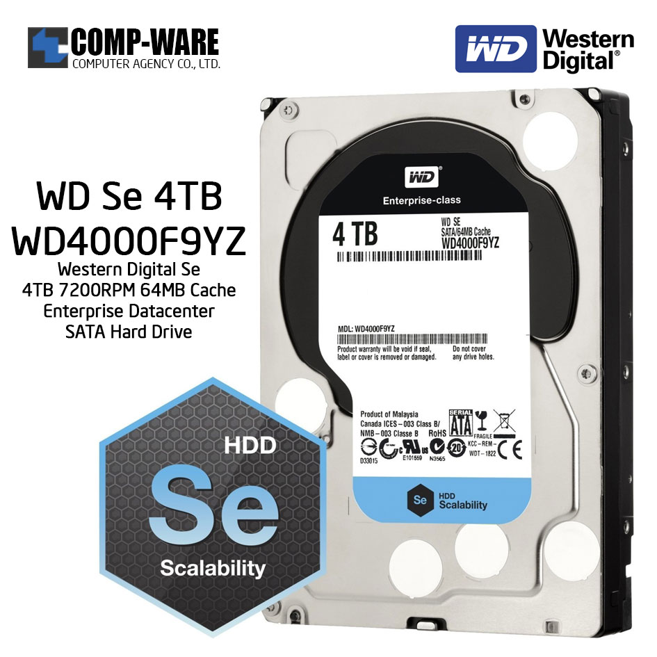 Western Digital Se WD4000F9YZ 4TB 7200RPM 64MB Datacenter Enterprise SATA Hard Drive ประกัน 1 เดือน