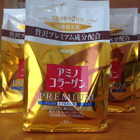 (Refill) Meiji Amino Collagen Premium ทานได้ 30 วัน รุ่นใหม่ เมจิ คอลลาเจน รุ่นพรีเมียม สีทอง ได้รับรางวัลการันตี หลายรางวัล