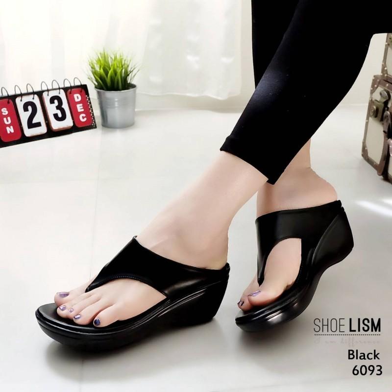 รองเท้าเตารีด หูคีบ ส้น pu ทรงสวย พื้นนิ่ม BLACK รองเท้าเตารีด หูคีบ ส้น pu ทรงสวย พื้นนิ่ม