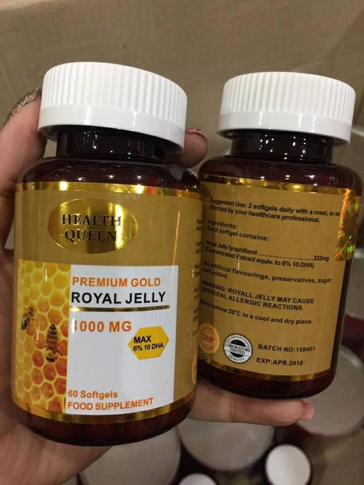 Health Queen Premium Gold Royal Jelly 1,000 mg. เฮลท์ ควีน นมผึ้ง สุดยอดอาหารผิว