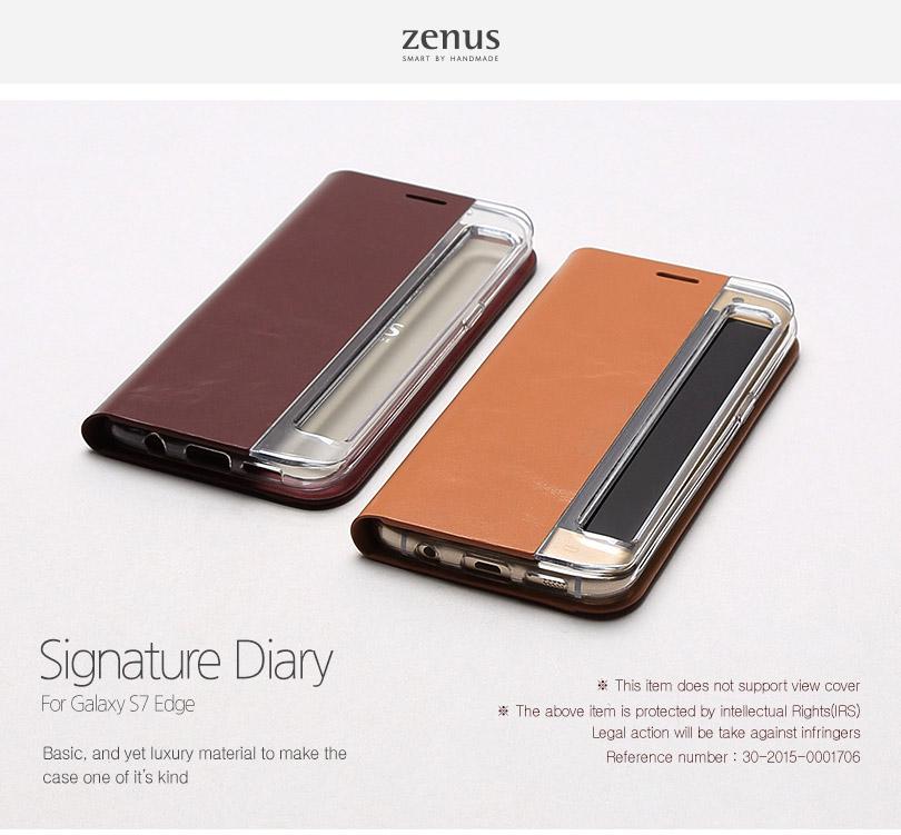Zenus : Signature Diary, Genuine Leather Case For Galaxy S7 Edge