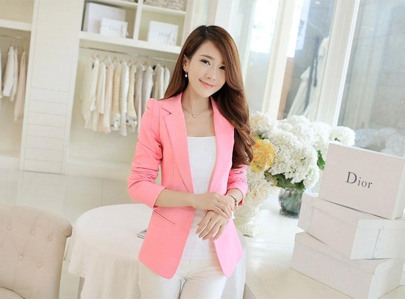 เสื้อสูทผู้หญิง เสื้อสูทใส่ทำงาน สีชมพู พร้อมส่ง L
