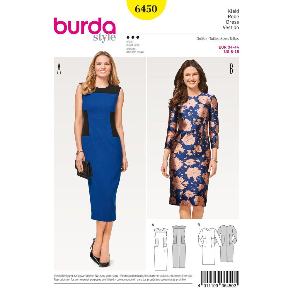 แพทเทิร์นตัดเดรสทำงาน เก๋ๆ ยี่ห้อ Burda Style (6450) ไซส์: 8-10-12-14-16-18