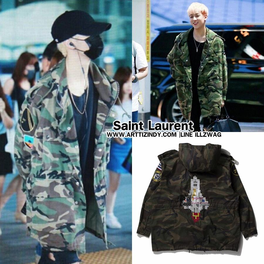เสื้อเชิ้ต Saint Laurent Embroidered Camouflage Parka Sty.mark -ระบุไซต์-