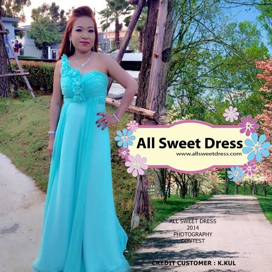ภาพลูกค้าพี่กุลจากโพธิ์แจ้ที่มาใช้บริการเช่าชุดราตรียาวไหล่เดี่ยวสีเขียวมิ้นท์สวยๆ ของร้านเช่าชุดราตรี All Sweet Dress ย่านฝั่งธน ถ่ายภาพ Outdoor Review ส่งมาให้ชมกันค่ะ