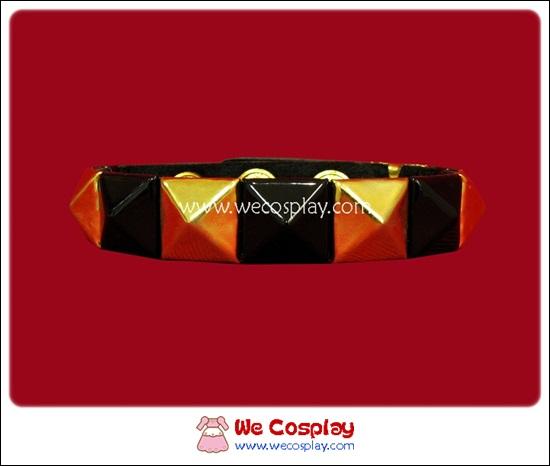 สร้อยข้อมือพังค์ Punk Wristband ตอกหมุด 1 แถว สีทอง-ดำ