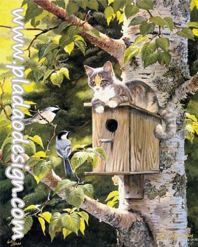 กระดาษสาพิมพ์ลาย สำหรับทำงาน เดคูพาจ Decoupage แนวภาำพ เจ้าแมวน้อยจอมซน แอบหลบมานอนบนบ้านนกแบบไม้ แกล้งนก2ตัวไม่ให้เข้าบ้าน