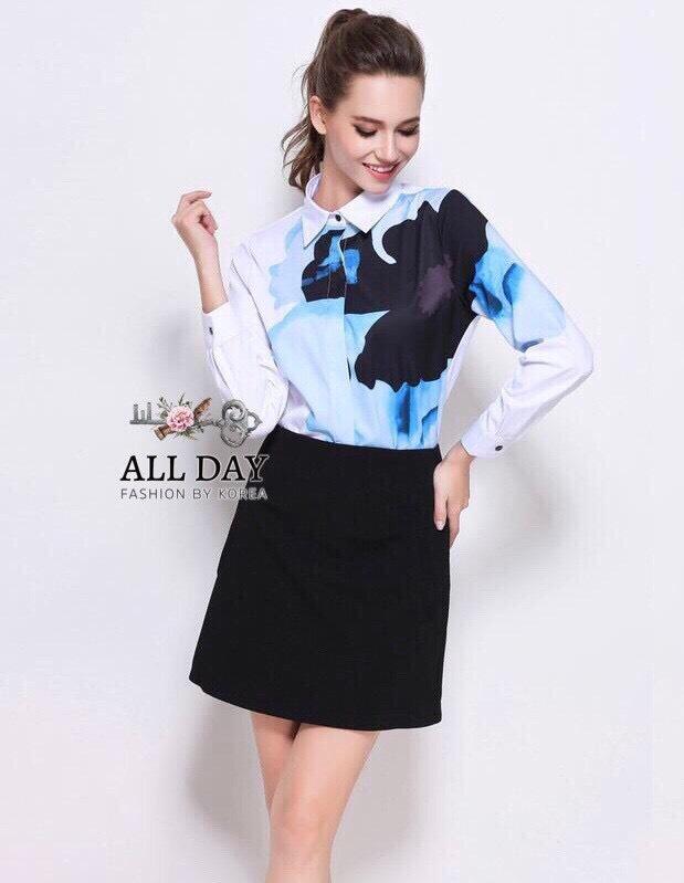 ชุดเซทแฟชั่น ชุดเซ็ทเสื้อ+กระโปรง เสื้อแบบเชิ้ต ใช้ผ้าจอร์เจียพิมพ์ลายภาพสีน้ำลายดอกไม้