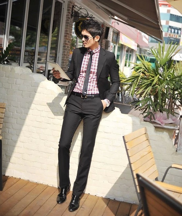 (Pre-Order) กางเกงทำงานผู้ชาย กางเกงขายาว กางเกงธุรกิจ ผ้าโพลีเอสเตอร์ สีดำ แฟชั่นกางเกงทำงานใหม่ แบบเรียบ ไม่จับจีบ