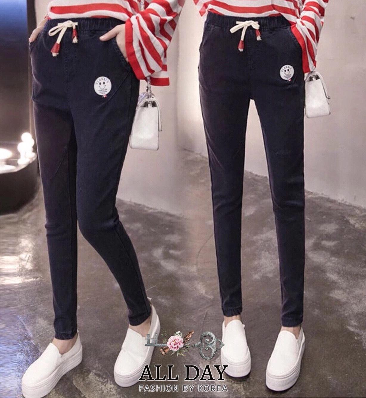 กางเกงแฟชั่น กางเกงผ้า spandex สีบลูยีนส์ ผ้าเนื้อนิ่มยืดหยุ่นดีค่ะใส่สบายมาก
