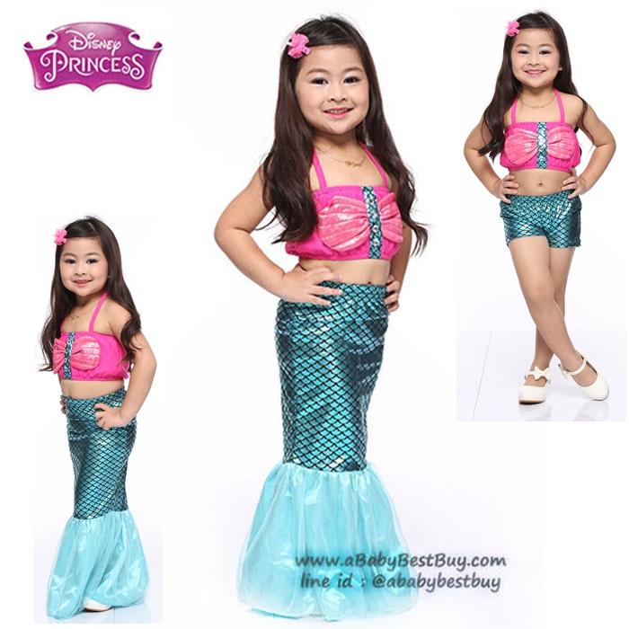 """"""" ชุดเดรส เจ้าหญิงแอเรียล นางเงือก Ariel จากเรื่อง Little Mermaid ชุดแฟนซีเจ้าหญิง ผ้าดี ใส่สบาย (สำหรับเด็กอายุ 3-10 ปี)"""