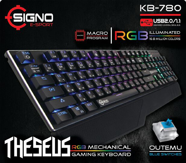 SIGNO KB-780 THESEUS Mechanical Gaming Keyboard (Blue Switches)