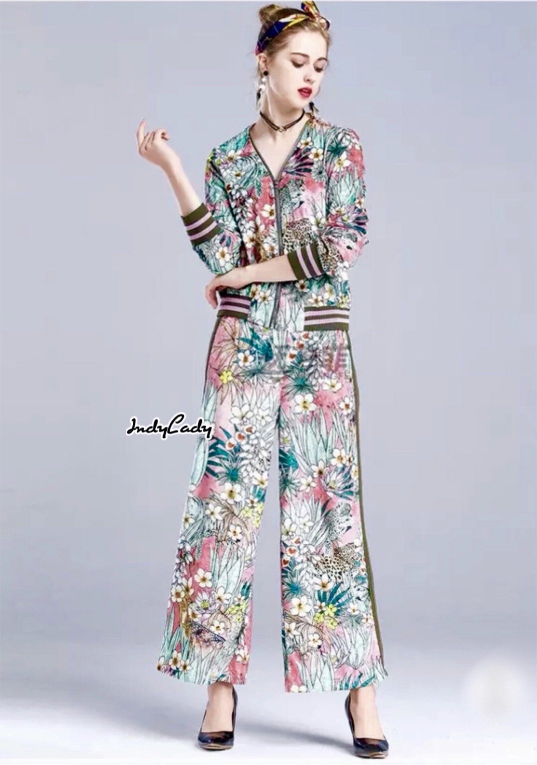 ชุดเซทแฟชั่น Set Jacket เสื้อ+กางเกงขายาวตัวเสื้อซิปหน้ายาวมาคู่กับกางเกงขายาว