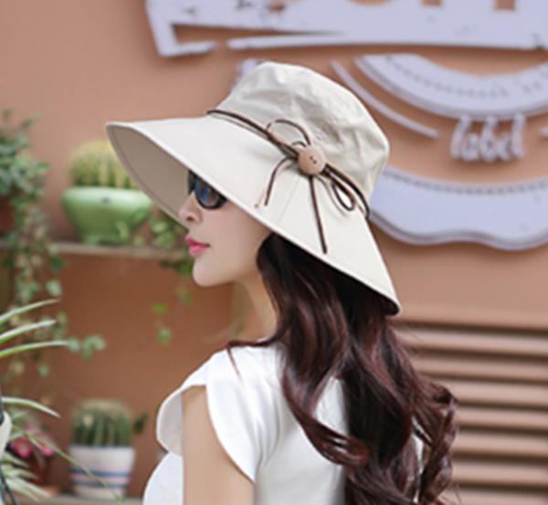Pre-order หมวกยีนส์ปีกกว้างผูกโบว์เชือกหนัง แฟชั่นฤดูร้อน กันแดด กันแสงยูวี สีกากี
