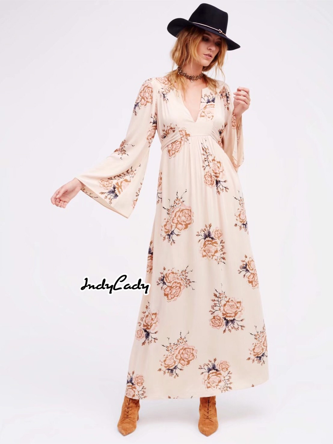 เดรสแฟชั่น Dress ยาว แขนยาว พิมพ์ลายดอกไม้ทั้งตัวตัว