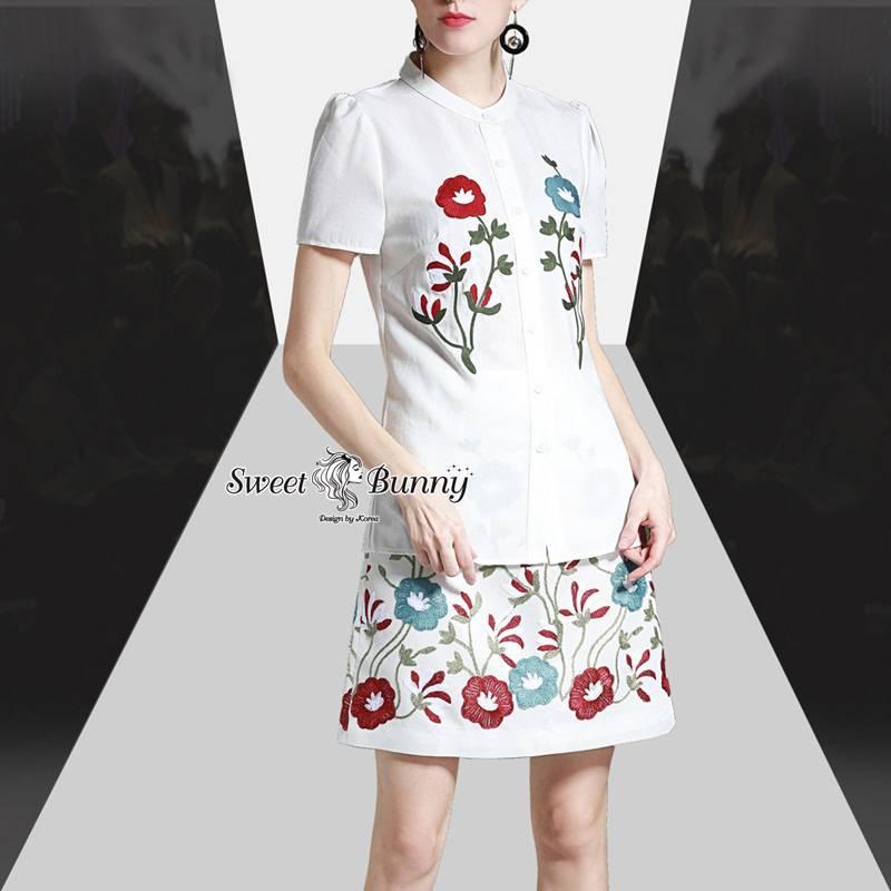 ชุดเซทแฟชั่น ชุดเซ็ทเสื้อ+กระโปรงปัก ผ้าเนื้อดีสีขาว ผ้าดีมีน้ำหนัก