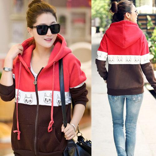 Times Size++สินค้าพร้อมส่งค่ะ++ เสื้อ Jacket เกาหลี แขนยาว มี hood ผ้า cotton sweater เนื้อดีพิมพ์ลายน้องแมวรอบ ซิบเก๋ด้วยตัวห้อยน้องแมว – สีแดง