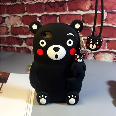 เคสไอโฟน 5/SE/6/6plus สีดำ การ์ตูนหมีคุมาโมโตะ+สายห้อย