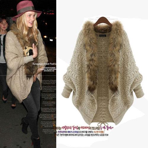 ++สินค้าพร้อมส่งค่ะ++ เสื้อ coat เกาหลี แขนค้างคาว สไตล์ cardigan ผ้า knit wool แต่งด้วยขน raccoon fur รอบคอ เนื้อผ้าดีมากค่ะ – สี Khaki