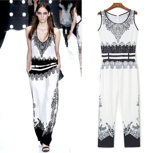 ++สินค้าพร้อมส่งค่ะ++ Jumpsuit กางเกงขายาวเกาหลี คอกลม แขนกุด ผ้า polyester พิมพ์ลายเก๋ หรูหรา – สีขาว