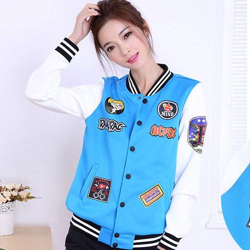 ++สินค้าพร้อมส่งค่ะ++Jacket เกาหลี แขนยาว ผ้า Polyester เนื้อดี สกรีนด้านหน้าและแขนสวยเก๋ กระเป๋าสองข้าง มี 3 สีค่ะ – สีฟ้า